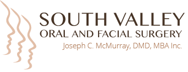 logo of top subpage oral surgery South Valley Oral Surgery of dimensions 374 wide by 143 high at double resolution